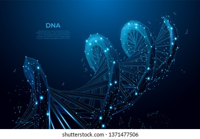 DNA. Abstract 3d polygonal wireframe DNA molecule. Medical science, genetic biotechnology, chemistry biology, gene cell concept vector illustration or background. Polygonal wireframe mesh art