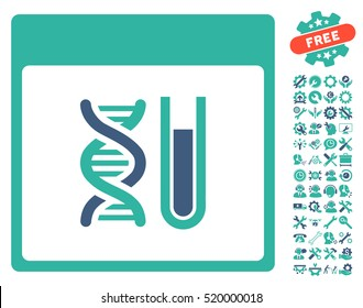 DNA Analysis Calendar Page icon with bonus service pictograms. Vector illustration style is flat iconic symbols, cobalt and cyan, white background.