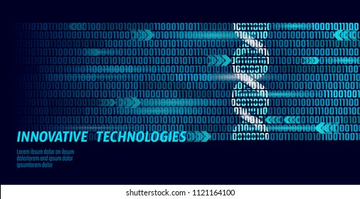 DNA binary code future computer technology concept. Genome science structure modified GMO engineering molecular symbol sign medicine coding gene banner template vector illustration