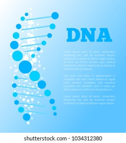 DNA blue poster with detailed image of deoxyribonucleic acid, thread-like chain of nucleotides carrying the genetic instructions vector illustration