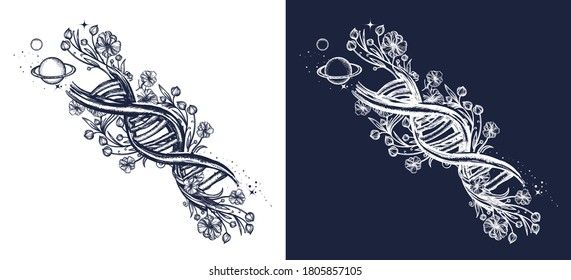 DNA chain and art nouveau flowers tattoo. Symbol of art, science, knowledge, medicine, evolution, lives and death t-shirt design. Black and white vector graphics