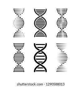 DNA or chromosome abstract strand symbol set. Vector illustration.
