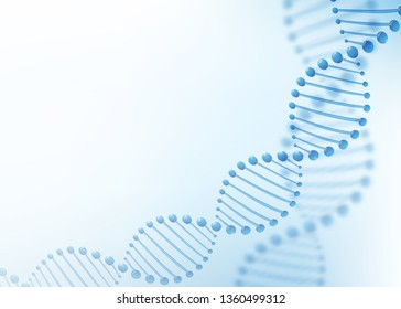 DNA chromosome concept. Science technology vector background for biomedical, health, chemistry design. 3D style in light blue color.