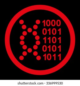 DNA Code vector icon. Style is flat rounded symbol, red color, rounded angles, black background.