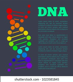 DNA colorful sign on poster with place for text, deoxyribonucleic DNA acid chain carrying genetic instructions used in functioning and reproduction vector