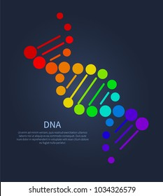 DNA colorful sign on poster with place for text, deoxyribonucleic acid chain carrying genetic instructions used in functioning and reproduction vector