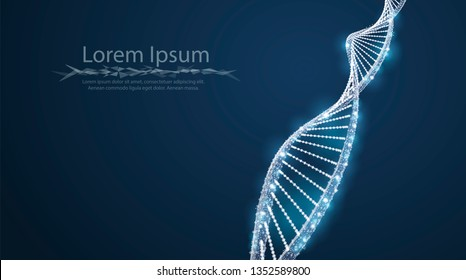 DNA concept vector illustration with text place. Molecule DNA  helix.  Abstract 3d polygonal wireframe tempalte. Medical science, genetic biotechnology, chemistry biology, gene cell.