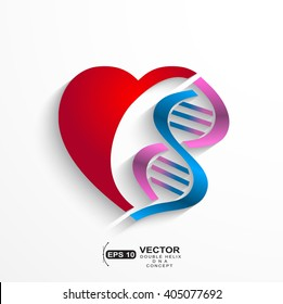 DNA concept.Heart with double helix symbols for medicine, genetics,biology concept