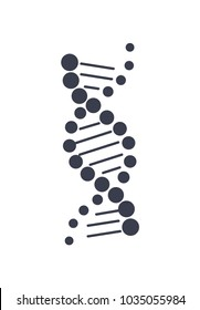 DNA deoxyribonucleic acid chain logo design in black and white colors, DNA logotype of nucleotides carrying genetic instructions vector illustration isolated