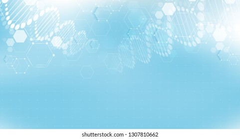 DNA digital, sequence, code structure with glow. Science concept and nano technology background. vector design