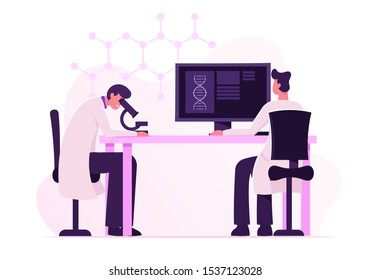 Dna Engineering and Genetics Science Concept. Scientists Conducting Experiment and Scientific Research in Laboratory. Man Look in Microscope, Technician Work on Pc Cartoon Flat Vector Illustration