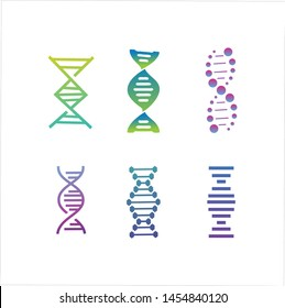 DNA genetic sign, icons and elements collection. colorful of DNA Symbol Isolated. DNA logo vector.