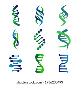 DNA genetic sign, icons and elements collection. colorful of DNA Symbol Isolated. DNA logo vector