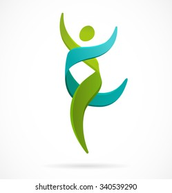 DNA, genetic symbol - running and jumping man icon