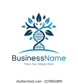 DNA genetic vector logo template. Leaf icon and chromosome. This logo is suitable for health, pharmacy, medical, business, body and icon.