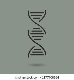 DNA genetics vector icon with shadow.