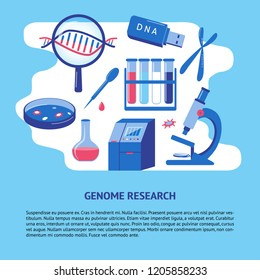 DNA genome research banner template in flat style