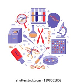 DNA genome research round concept in flat style