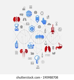 DNA helix with medical icons