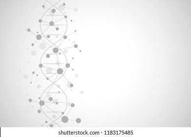 DNA helix and molecular structure. Science and technology concept with molecules background