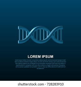 Dna helix with shadow. Editable banner template. Vector illustration