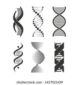 DNA icon. Chromosome strand symbol set design