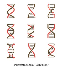 DNA icon set isolated on a white background.