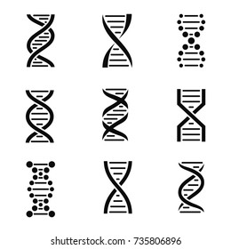 DNA icon set. Isolated on a white background. Vector illustration