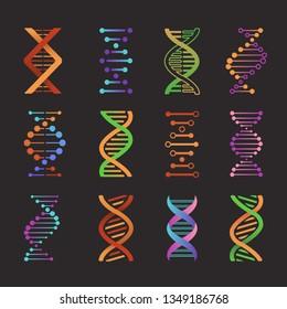 Dna icons. Biochemistry laboratory helix research symbols life gene model bio code genetics molecule medical, flat vector emblems