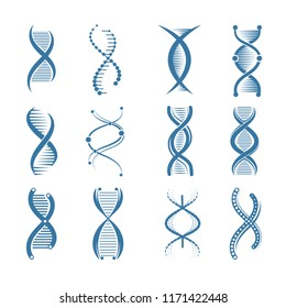 DNA icons. Genetic biology human structure medical scientific representatives vector symbols isolated. Structure scientific dna, health genetic genome. Vector illustration