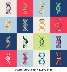 DNA icons set. Collection of symbols strands DNA and  genetic elements. Isolated. Vector