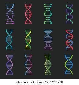 DNA icons set, deoxyribonucleic acid symbol, Structure molecule chromosome, genetic sign, medical genetics molecule business concept, vector illustration
