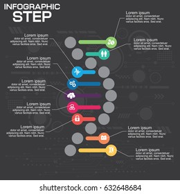 DNA Infographic template with Illustration high computer technology background. business and digital concept