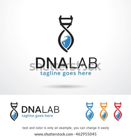 dna lab logo template design vector のベクター画像素材