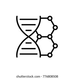 DNA line icon. High quality black outline logo for web site design and mobile apps. Vector illustration on a white background.