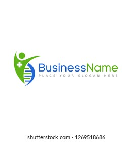 DNA logo with people or leave. Health vector design. This logo is suitable for healthy life, medical, medicine, body, cross symbol or icon, chromosome, genetic, structure and care.