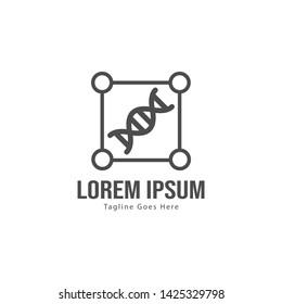 DNA logo template design with frame. minimalist DNA logo vector illustration