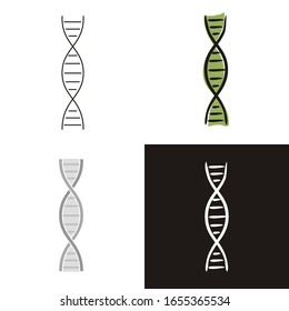 DNA molecule icons set isolated on white background. Hand-drawn contour icon in doodle style, flat and chalk on a black board. Vector object for the theme of medicine, biology, anatomy and education.