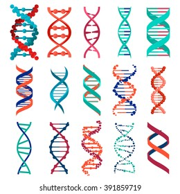 DNA molecule sign set, genetic elements and icons collection strand. Vector illustration background eps10