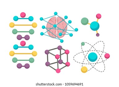 DNA molecule vector icons for science in molecular genetics scientific research