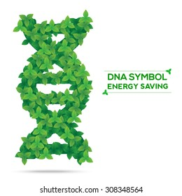 DNA nature symbol from green leaves,energy saving concept,vector