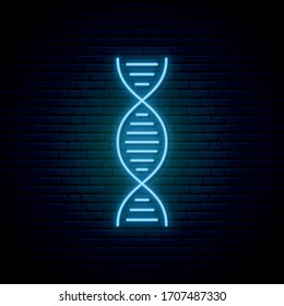 DNA neon sign. Glowing neon DNA symbol on dark brick wall background. Vector illustration.
