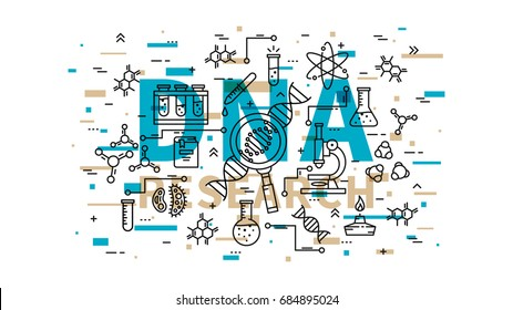 DNA research vector illustration with colorful elements. Genetic analysis line art concept. Biotechnology elements (microscope, gene, genome, dna chain, test-tube, cell, etc) graphic design.