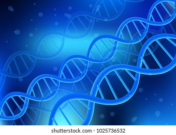 DNA, RNA realistic 3D helix model of DNA, the scientific picture of biological discoveries on a blue background, of the invention cloning, cell regeneration, innovative cosmetics, vector illustration.