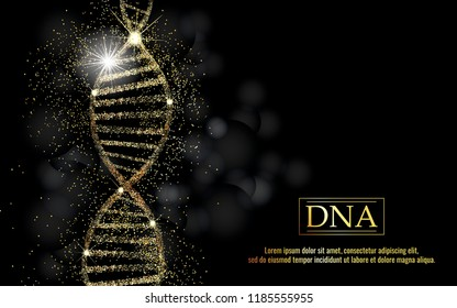 DNA sequence, DNA code structure with gold glow. Science concept background. Nano technology. Vector illustration, black background with space for text