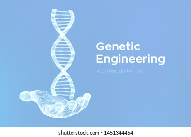 DNA sequence in hand. Wireframe DNA molecules structure mesh. DNA code editable template. Science and Technology concept. Vector illustration.