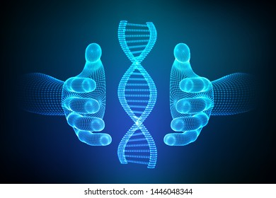 DNA sequence in hands. Wireframe DNA molecules structure mesh. DNA code editable template. Science and Technology concept. Vector illustration.