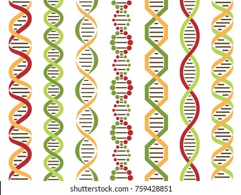 DNA set, seamless pattern. Vector illustratiion