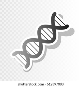The DNA sign. Vector. Blackish icon on transparent background with transition.