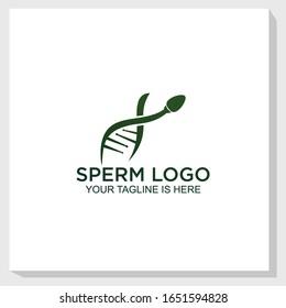 DNA sperm logo template design vector, medical logo design vector